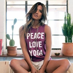Spiritual Gangster Peace Love Yoga Tank SZ: Medium